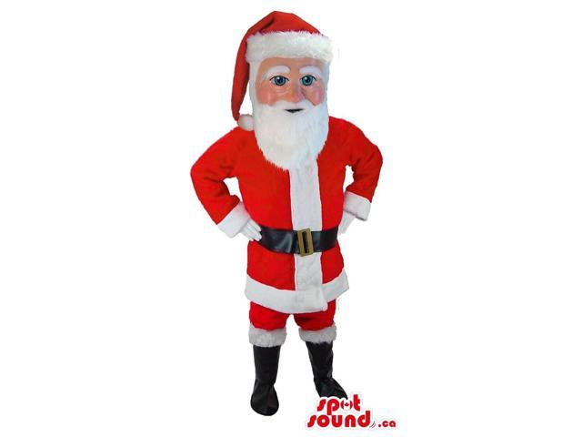 Santa Claus Human Canadian SpotSound Mascot With Red And White Christmas Clothes