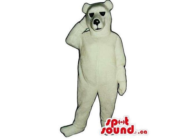 Customised And All White Polar Bear Canadian SpotSound Mascot With Black Nose