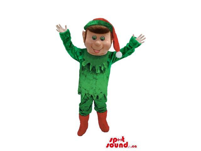 Elf Christmas Canadian SpotSound Mascot With Red Hat And Boots And Green Gear