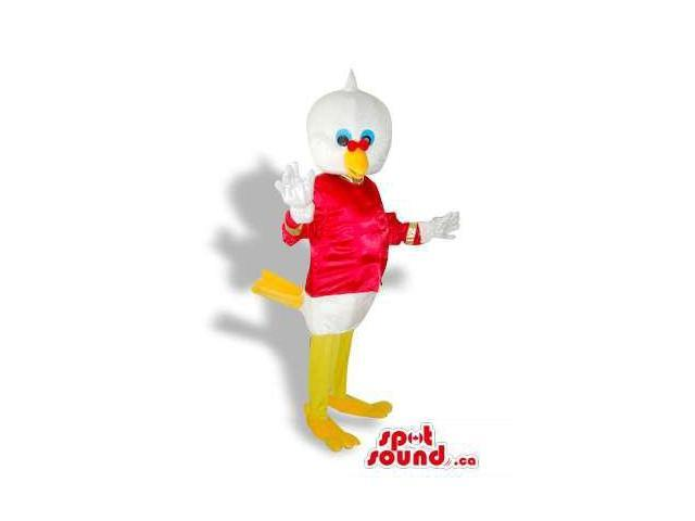 Cool White Duck Plush Canadian SpotSound Mascot Dressed In Red Flashy Clothes