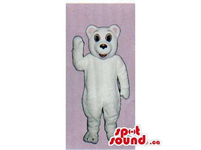 Customised And All White Polar Bear Canadian SpotSound Mascot With Pink Ears