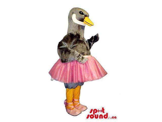 Grey Duck Animal Plush Canadian SpotSound Mascot Dressed In A Pink Skirt