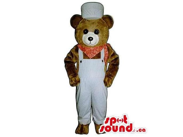 Customised Brown Teddy Bear Canadian SpotSound Mascot Dressed In Overalls