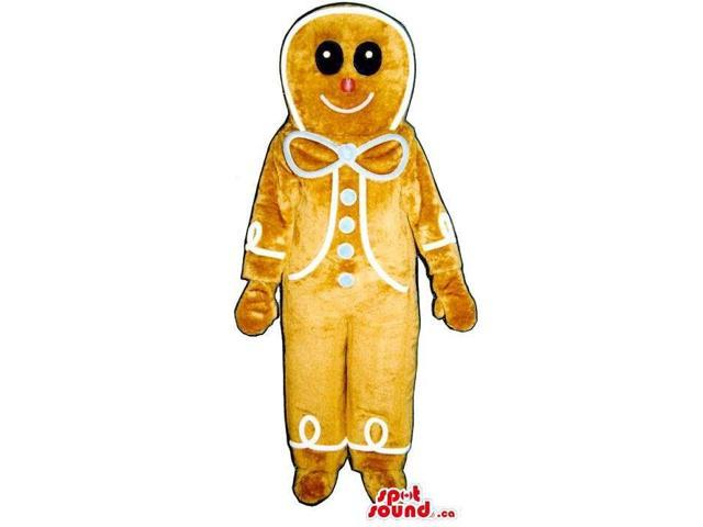 Large Ginger-Bread Man Plush Canadian SpotSound Mascot With A Blue Ribbon