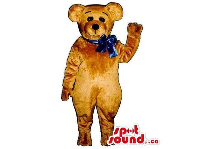 Customised Light Brown Teddy Bear Canadian SpotSound Mascot With A Blue Ribbon