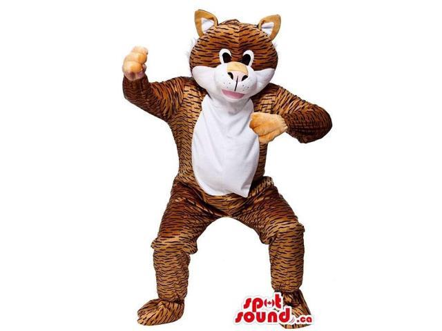 Customised Plush Tiger Animal Canadian SpotSound Mascot With A White Belly