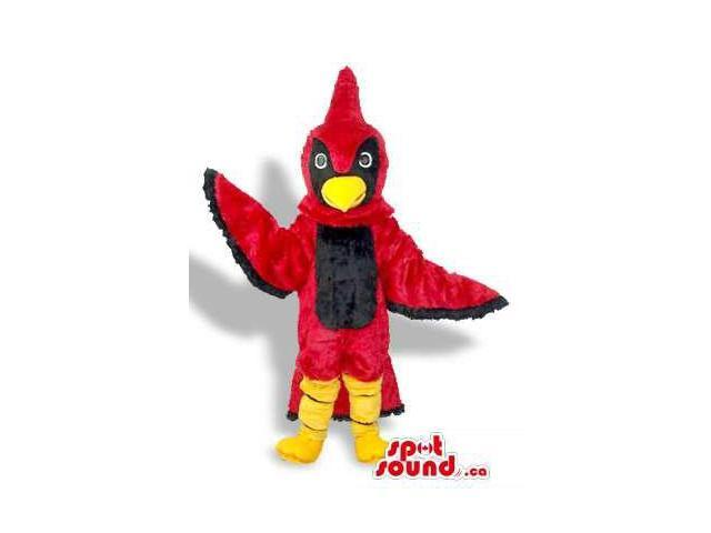 Red And Black Bird Plush Canadian SpotSound Mascot With A Pointy Head