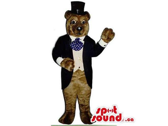 Brown Bear Forest Canadian SpotSound Mascot Dressed In An Elegant Suit And Top Hat