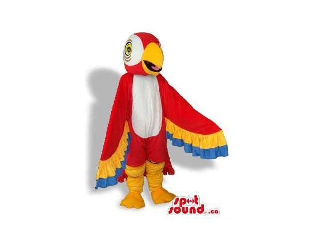 Red Colourful Bright And Flashy Parrot Plush Canadian SpotSound Mascot