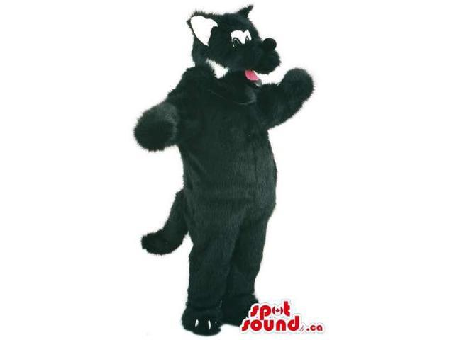 Customised Woolly Black And White Cat Animal Canadian SpotSound Mascot