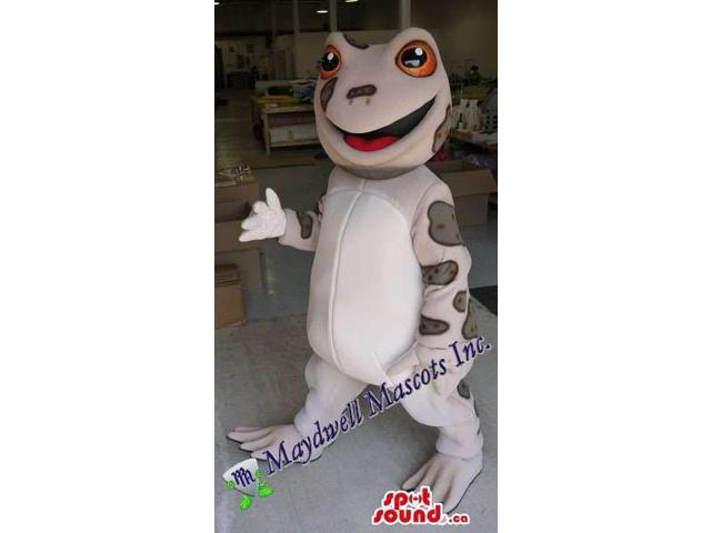 Grey Frog Plush Canadian SpotSound Mascot With A White Belly And Red Eyes