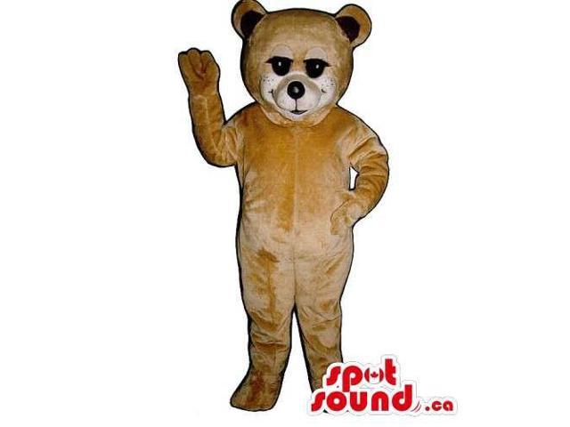 Customised Light Brown Teddy Bear Canadian SpotSound Mascot With Black Ears