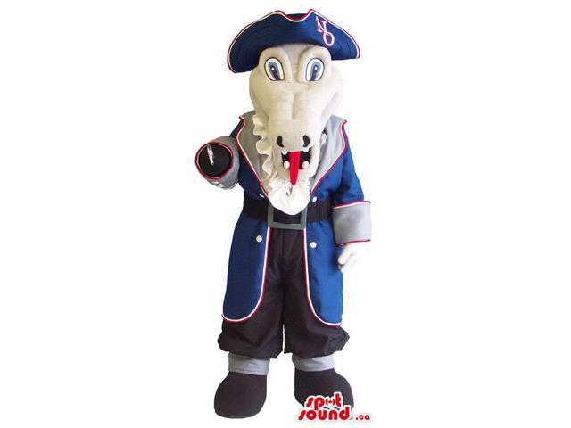 Grey Plush Snake Canadian SpotSound Mascot Dressed In Blue Pirate Clothes
