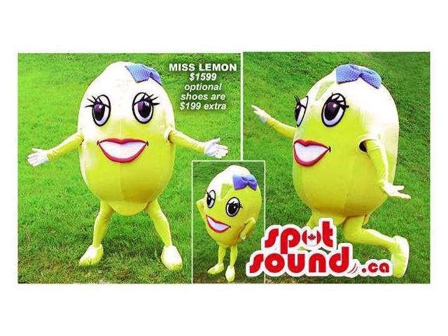 Large Ms. Lemon Girl Plush Canadian SpotSound Mascot With A Blue Ribbon