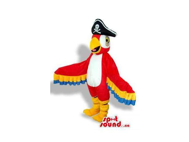 Bright And Flashy Red Parrot Plush Canadian SpotSound Mascot With Pirate Hat