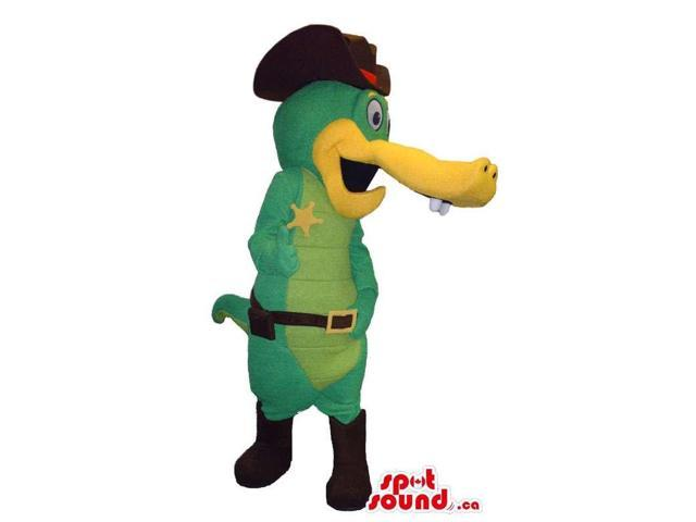 Green And All Yellow Alligator Canadian SpotSound Mascot Dressed In Sheriff Clothes