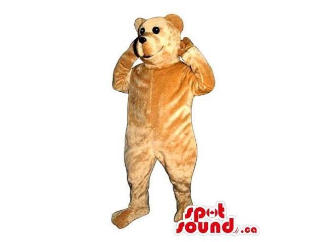 Customised Light Brown Bear Canadian SpotSound Mascot With Black Eyes