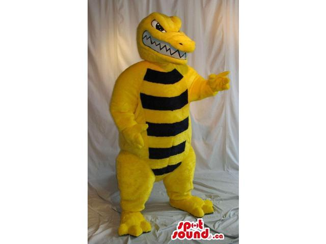 Yellow Angry Alligator Canadian SpotSound Mascot With Black Stripes On Its Belly