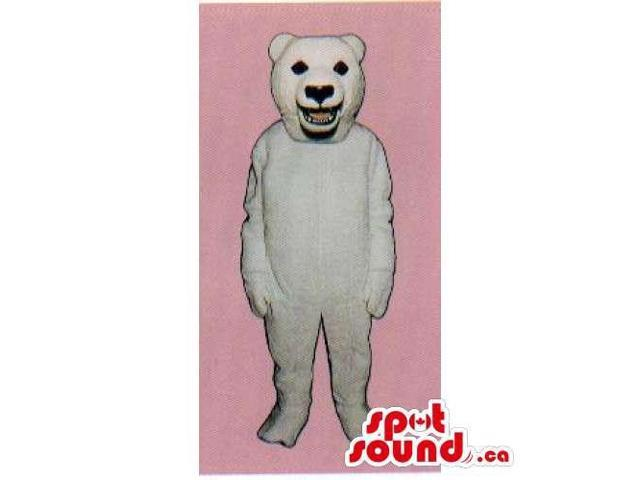 Customised And All White Polar Bear Canadian SpotSound Mascot With Visible Teeth