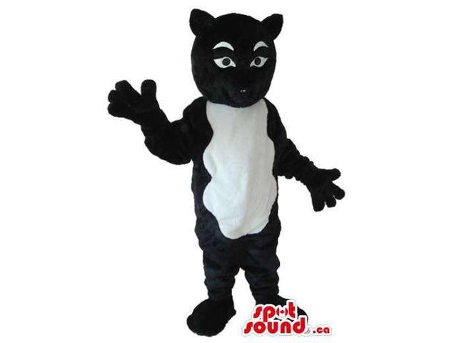 Black And White Exotic Cat Plush Canadian SpotSound Mascot With A White Belly