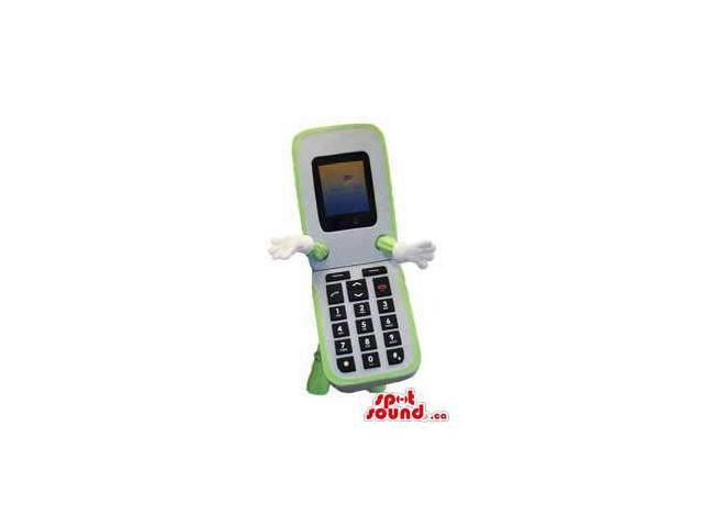 White And Green Folding Cellphone Canadian SpotSound Mascot With No Face