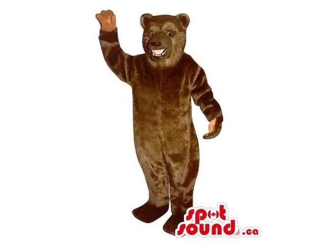 Customised And All Brown Bear Canadian SpotSound Mascot With Visible Teeth