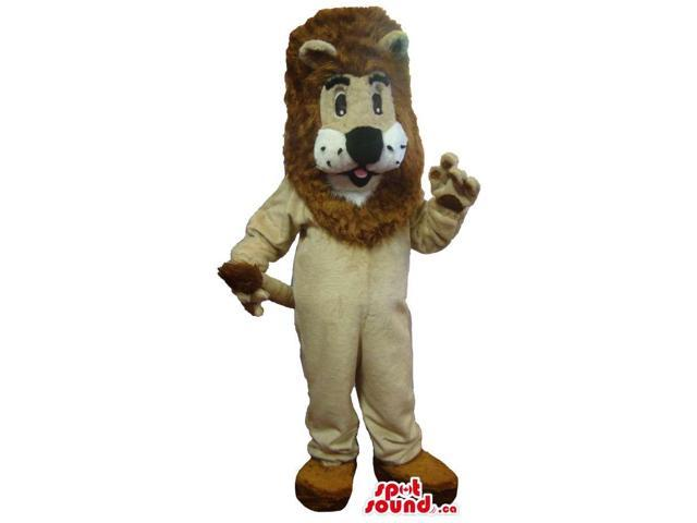 Large Beige Lion Plush Canadian SpotSound Mascot With Large Brown Hair And Peculiar Face