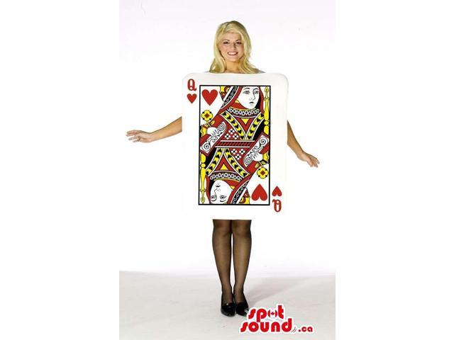 Large Queen Of Hearts Poker Card Adult Size Costume