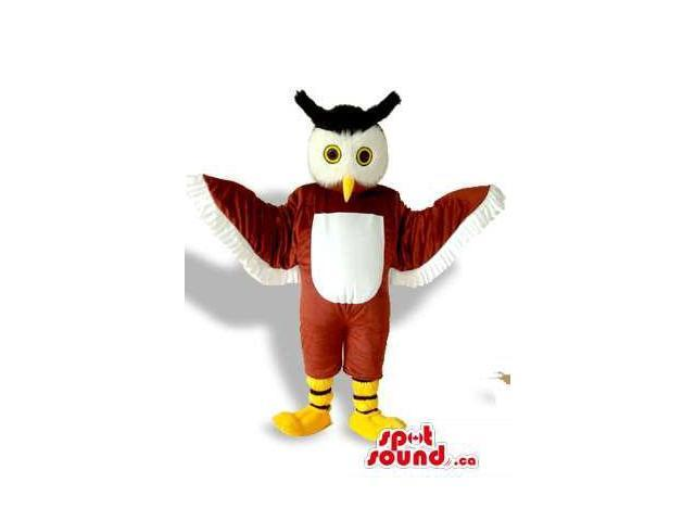 Cute Brown And White Owl Bird Canadian SpotSound Mascot With Black Horns