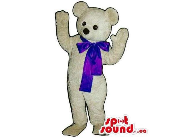Customised White Teddy Bear Canadian SpotSound Mascot With Blue Ribbon
