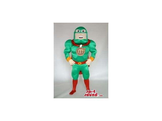 Customised Superhero Canadian SpotSound Mascot In Green And Red With Logo