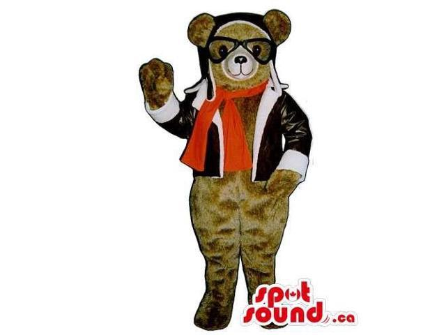 Brown Bear Canadian SpotSound Mascot Dressed In Plane Pilot Gear And Gadgets