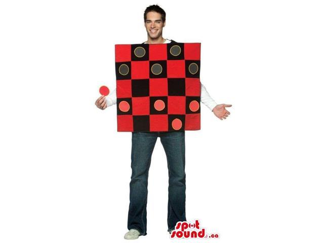 Large Checkers Game Board Adult Size Costume With Chips