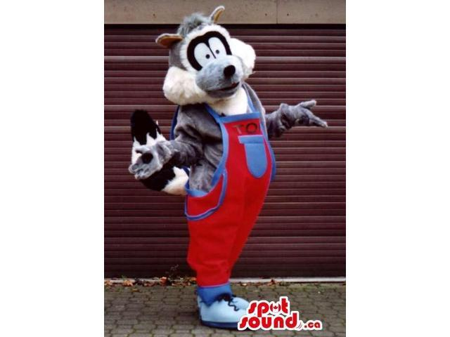Raccoon Plush Canadian SpotSound Mascot Dressed In Red Overalls With A Pocket
