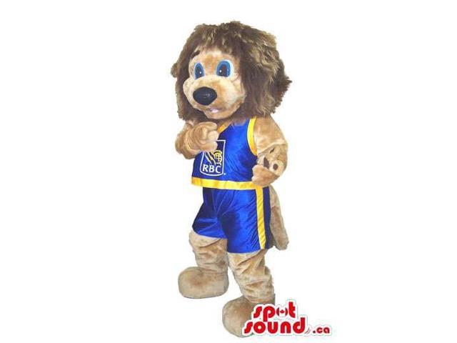 Cute Lion Plush Canadian SpotSound Mascot Dressed In Basketball Gear With Logo