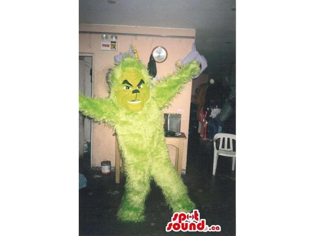 All Yellow Customised Woolly Monster Canadian SpotSound Mascot With Angry Look