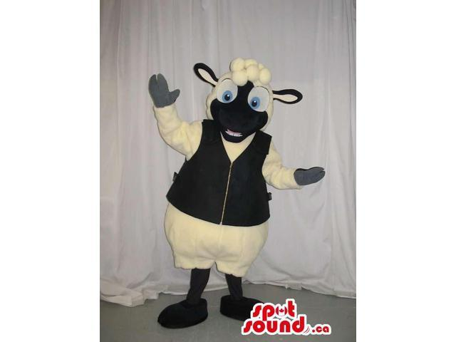 Sheep Plush Canadian SpotSound Mascot With A Black Face Dressed In A Vest