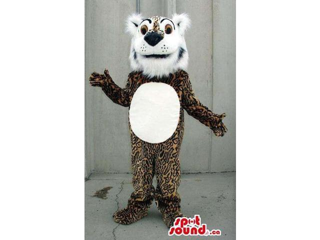 Leopard Plush Canadian SpotSound Mascot With A Woolly White Face And A Belly