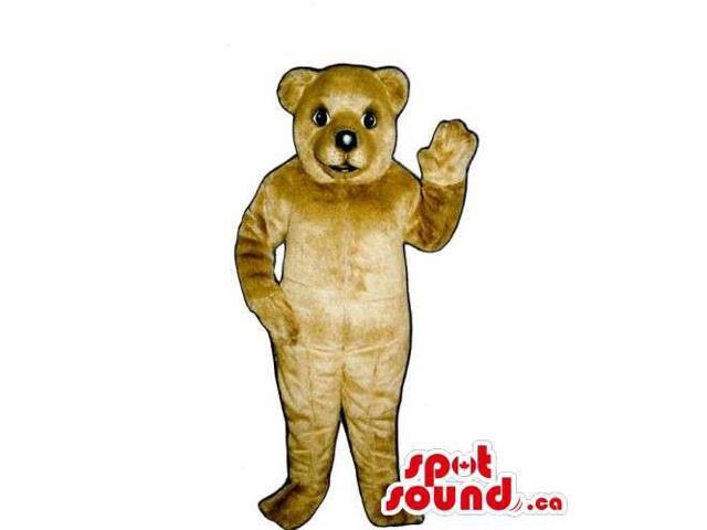 Customised And All Beige Bear Canadian SpotSound Mascot With Black Nose