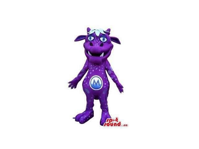 Customised Purple Monster Creature Canadian SpotSound Mascot With Logo