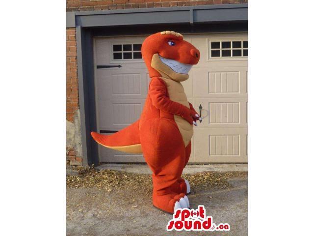 Customised Orange And Yellow Dinosaur Canadian SpotSound Mascot With Large Teeth