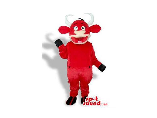 Peculiar Great Red Cow Plush Canadian SpotSound Mascot Dressed In Red Overalls
