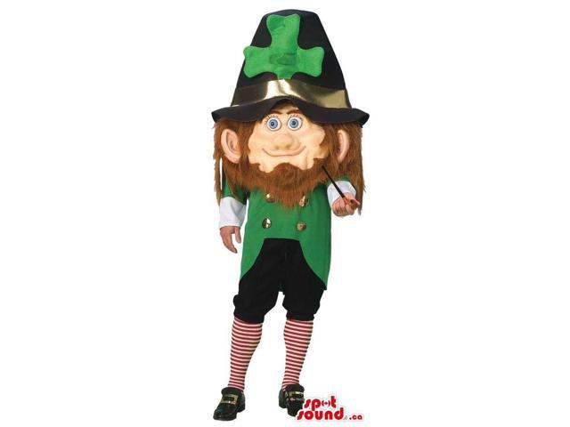 Leprechaun Irish Character Canadian SpotSound Mascot With Huge Clover Hat