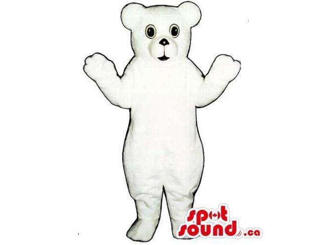 Customised And All White Bear Canadian SpotSound Mascot With Black Nose