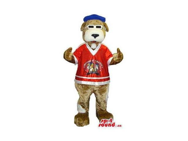 Brown Dog Canadian SpotSound Mascot With Sunglasses, A Cap And A T-Shirt