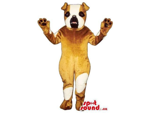 Brown Dog Plush Canadian SpotSound Mascot With White Spots And Bent Ears