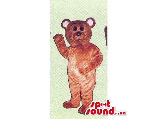 Customised Brown Teddy Bear Canadian SpotSound Mascot With Pink Ears