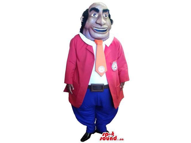 Human Canadian SpotSound Mascot Dressed In Red And Blue Gear And A Tie With A Logo