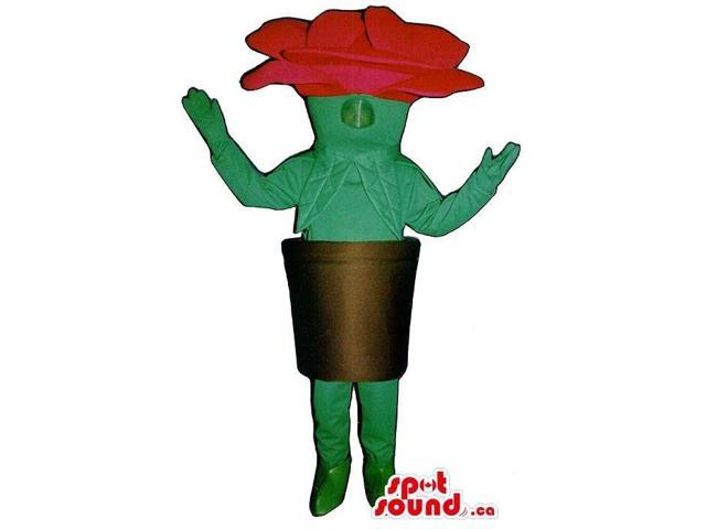 Red Garden Flower In A Pot Plush Canadian SpotSound Mascot With No Face