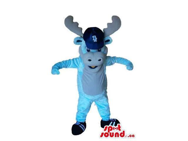Blue Plush Reindeer Animal Canadian SpotSound Mascot With A Cap With Logo